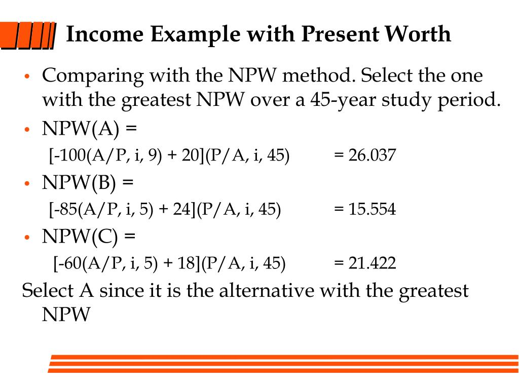 Income Example with Present Worth