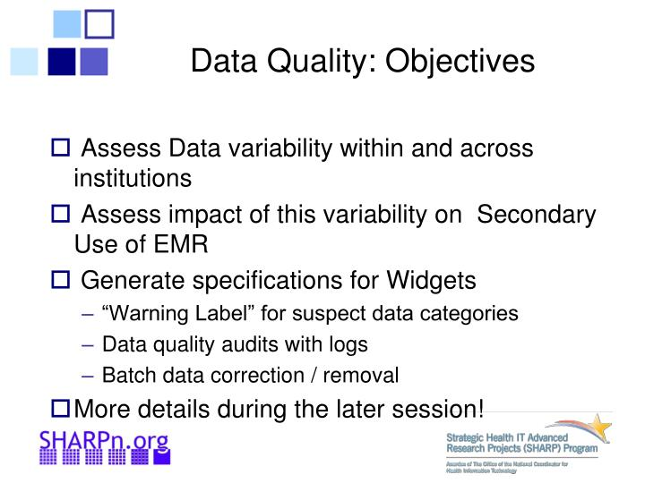 Data Quality: Objectives
