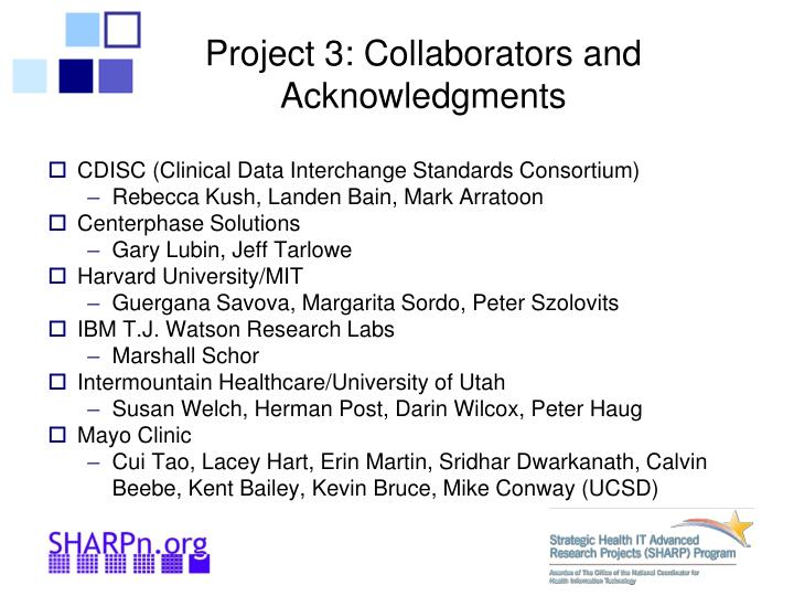 Project 3 collaborators and acknowledgments