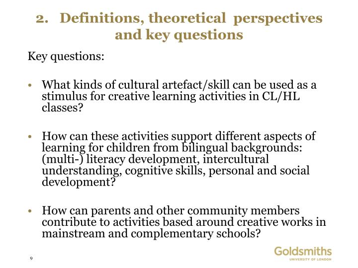 2.   Definitions, theoretical  perspectives