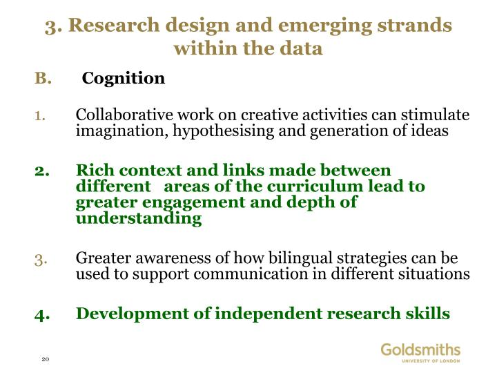 3. Research design and emerging strands within the data
