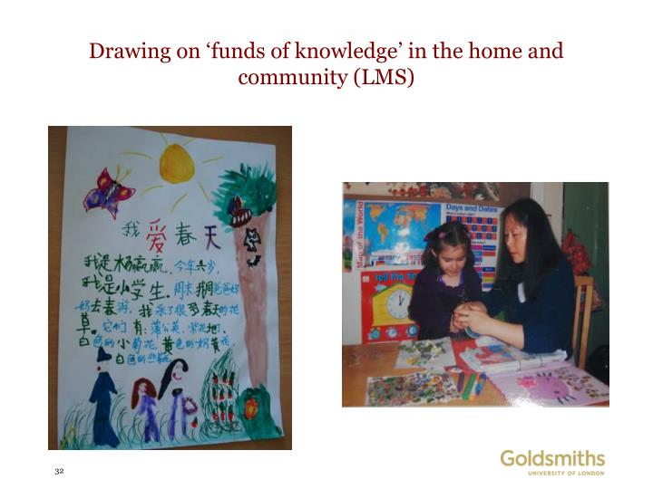 Drawing on 'funds of knowledge' in the home and community (LMS)
