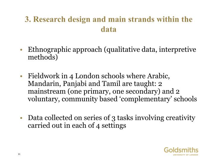 3. Research design and main strands within the data