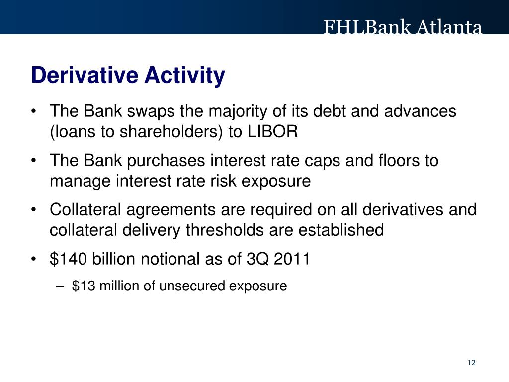 The Bank swaps the majority of its debt and advances (loans to shareholders) to LIBOR