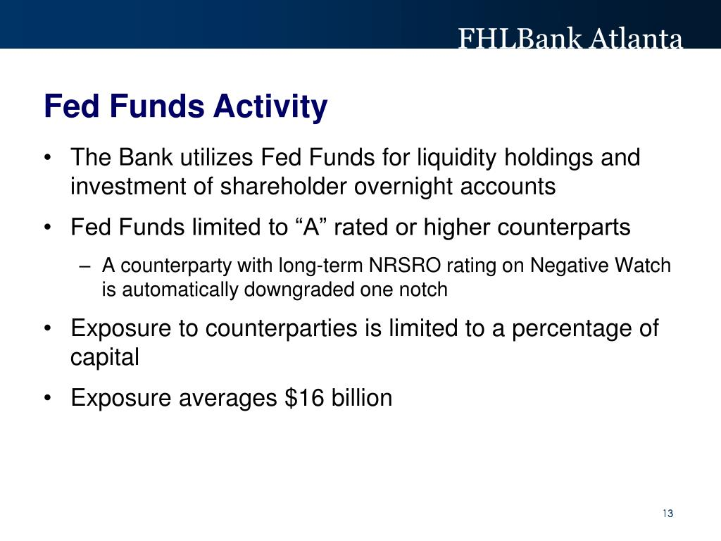 The Bank utilizes Fed Funds for liquidity holdings and investment of shareholder overnight accounts