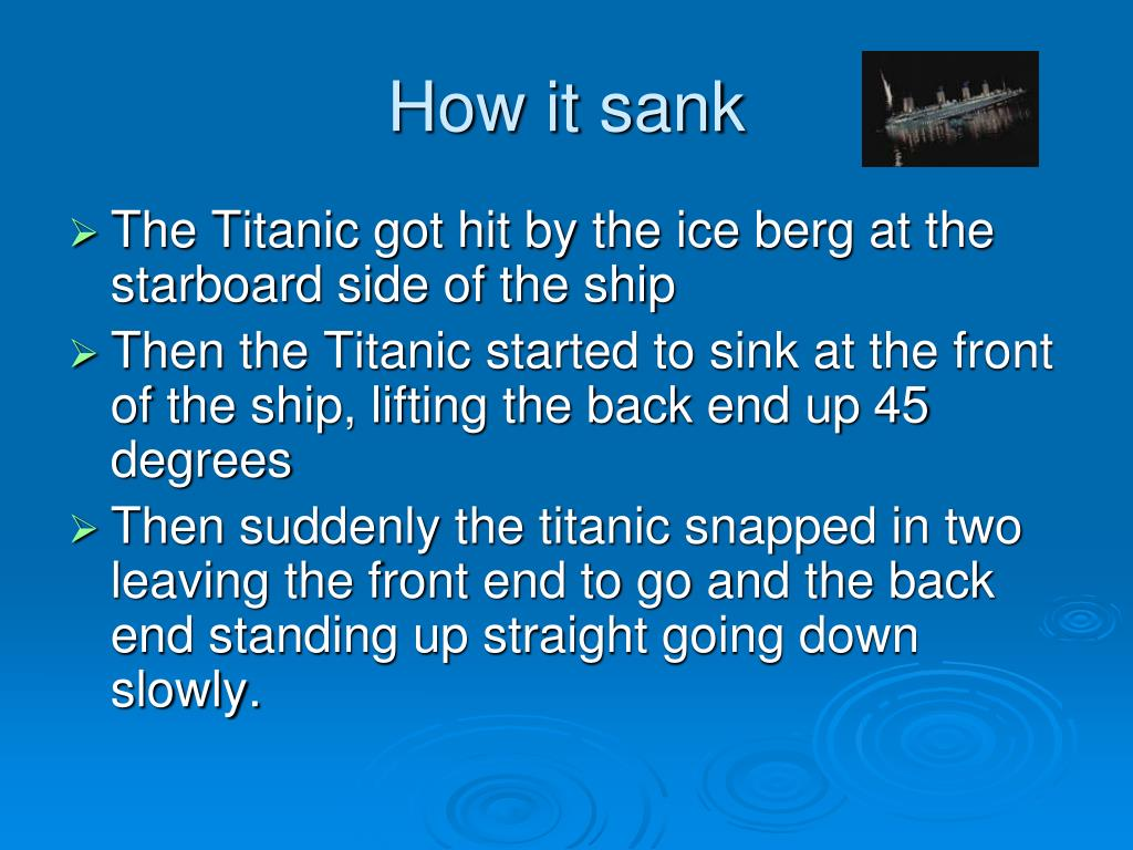How it sank