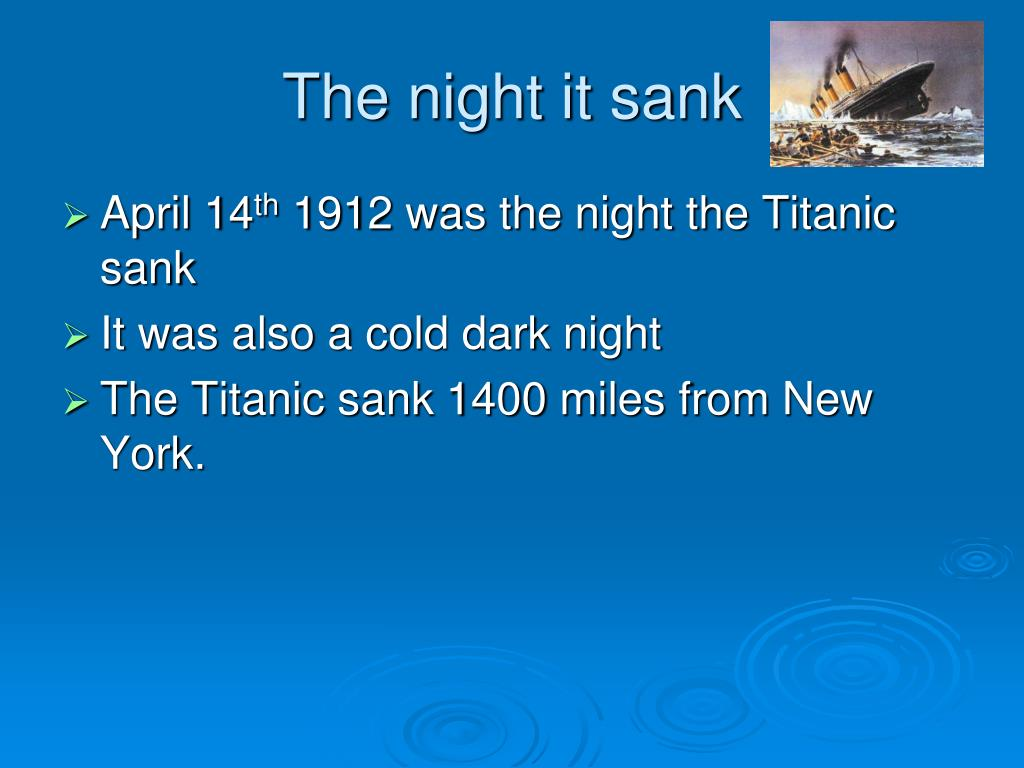 The night it sank