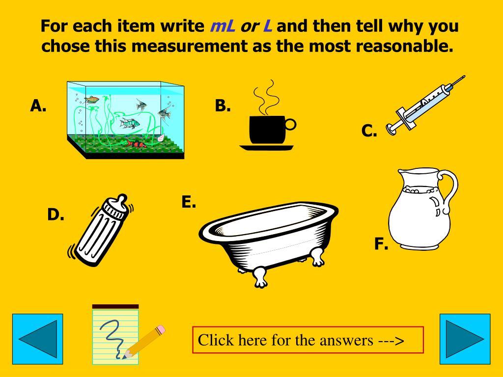 For each item write