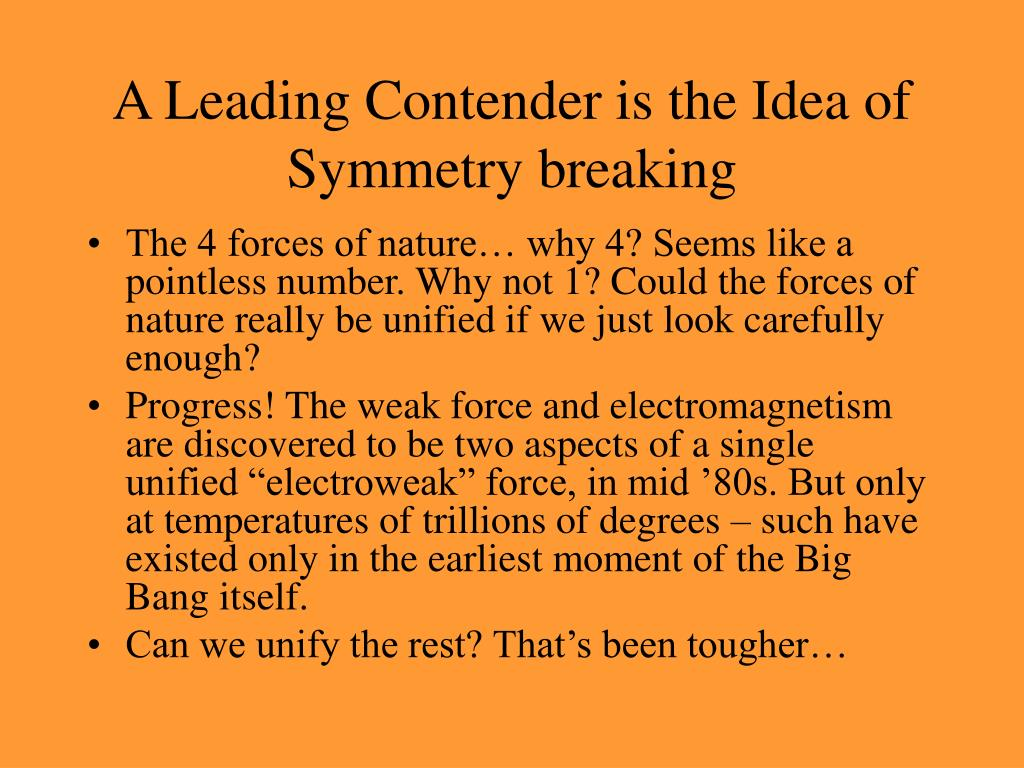 A Leading Contender is the Idea of Symmetry breaking