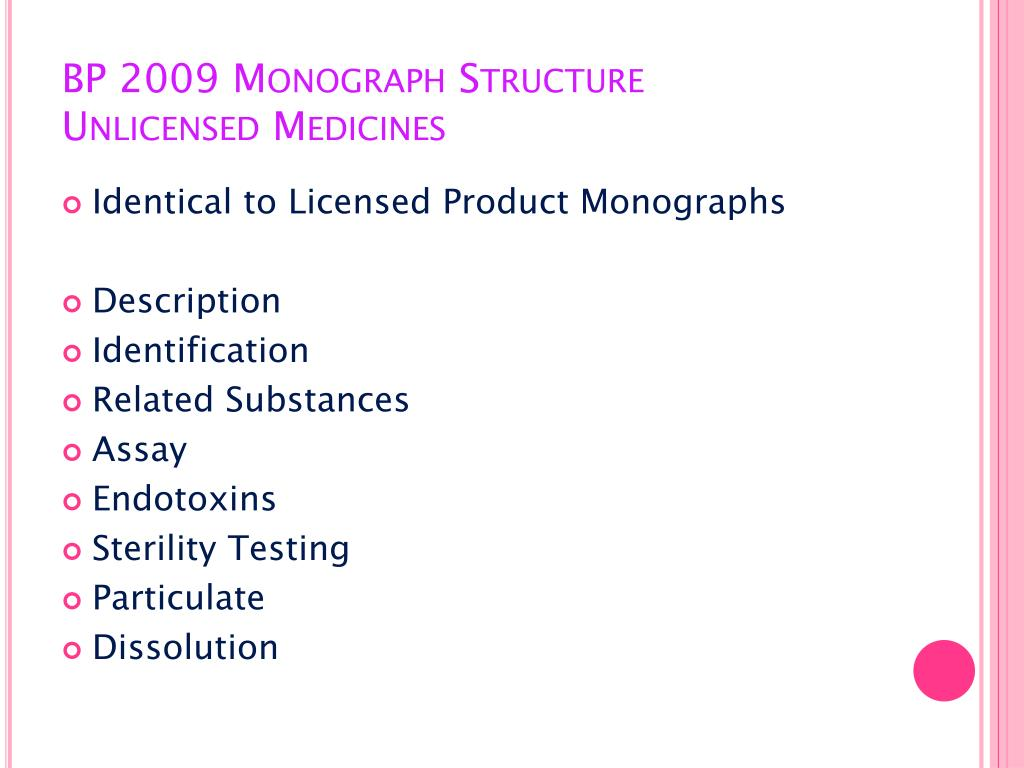 BP 2009 Monograph Structure