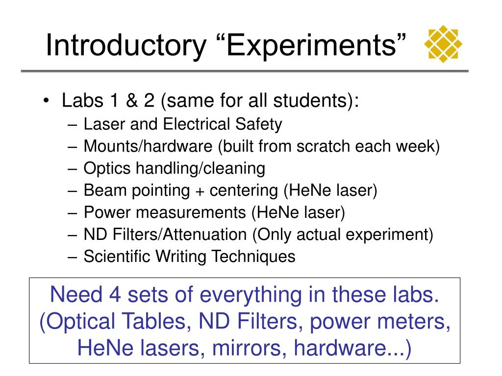 "Introductory ""Experiments"""
