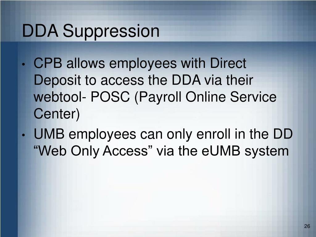 DDA Suppression