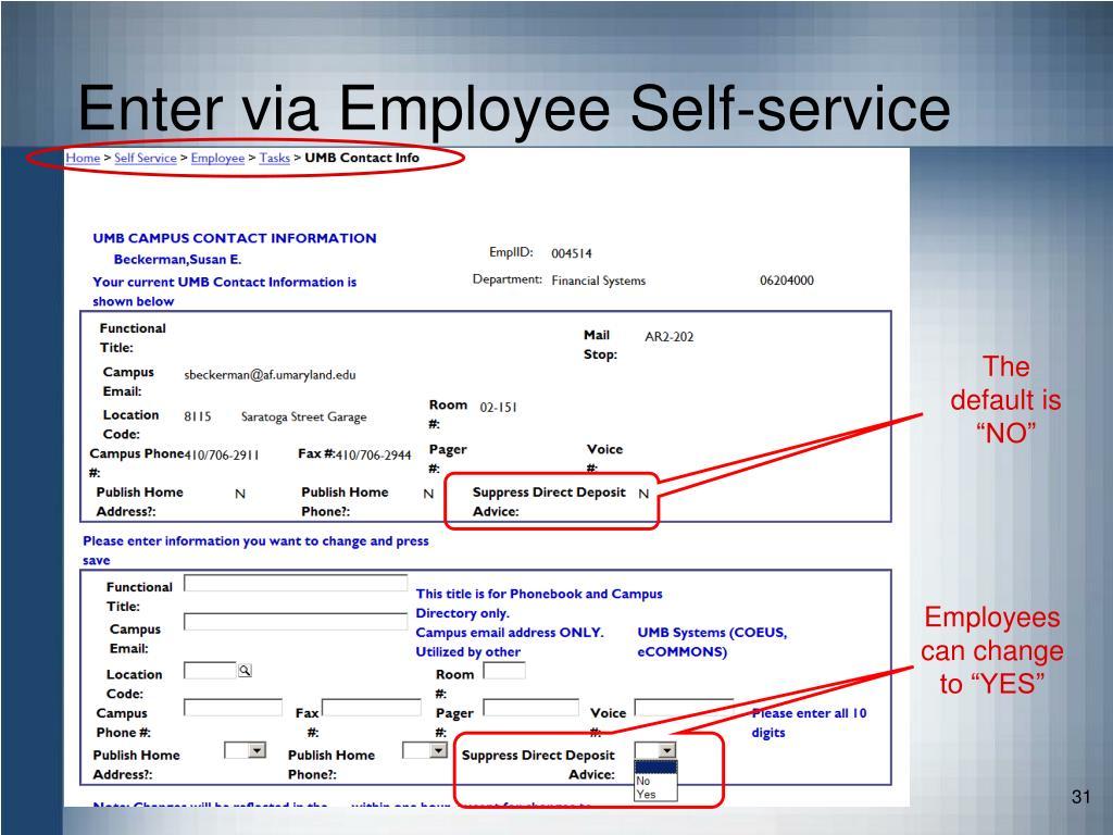 Enter via Employee Self-service