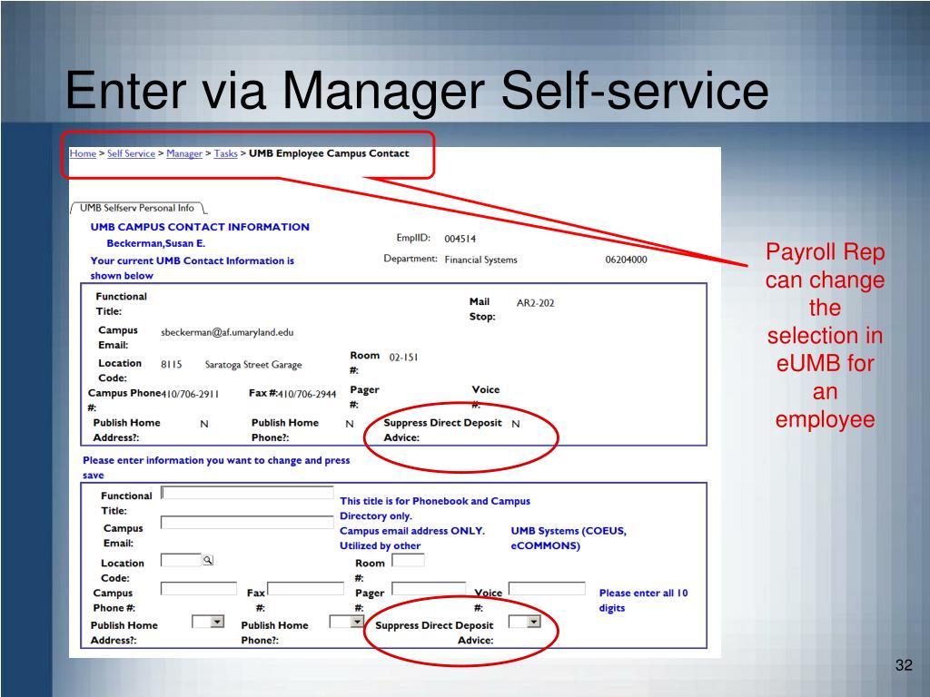 Enter via Manager Self-service