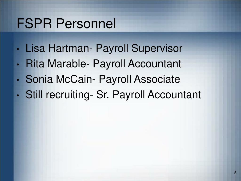 FSPR Personnel