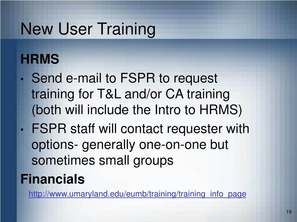 New User Training