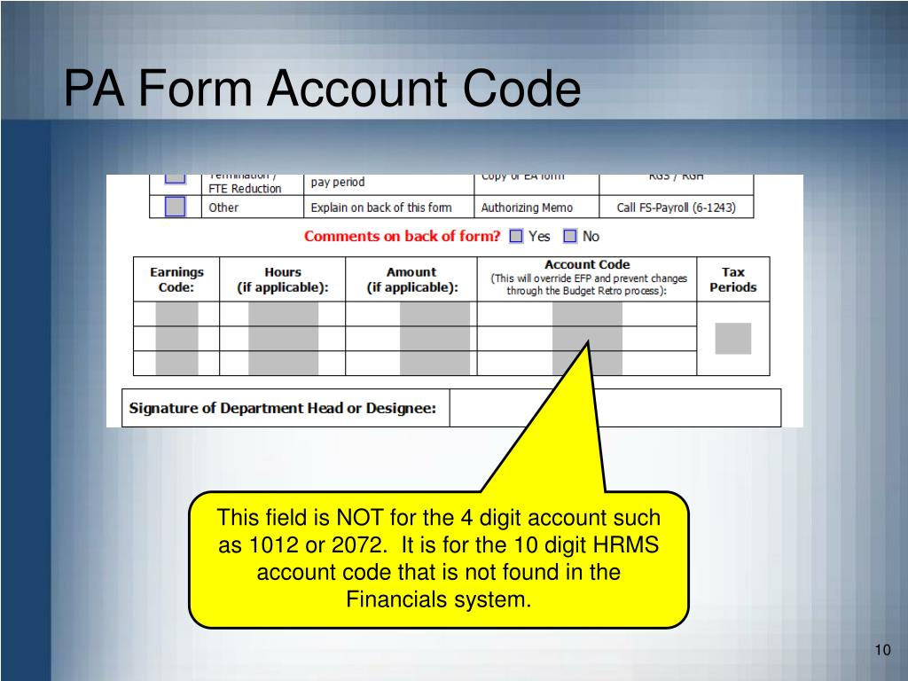 PA Form Account Code