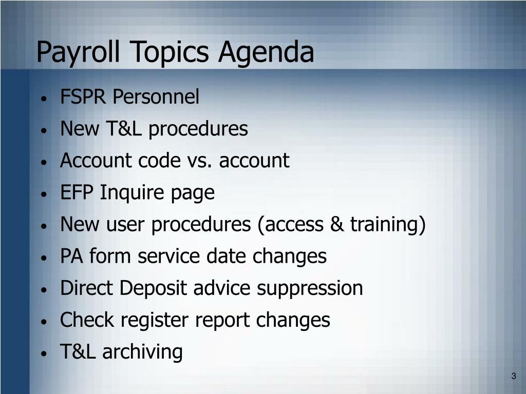 Payroll Topics Agenda