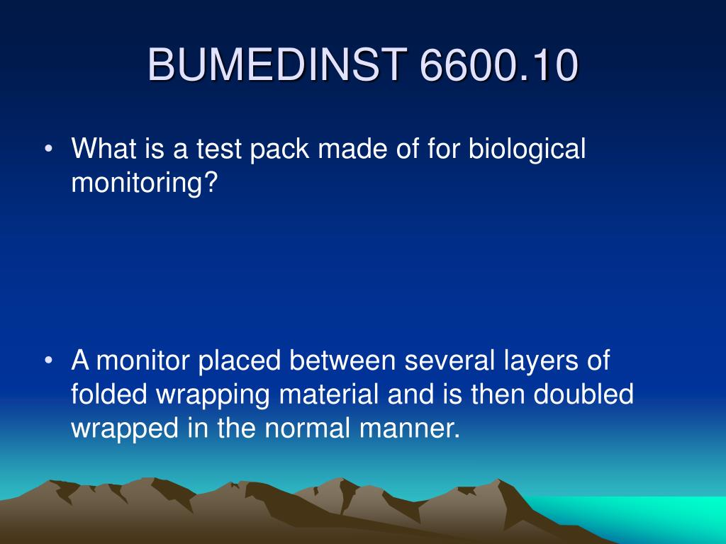 What is a test pack made of for biological monitoring?