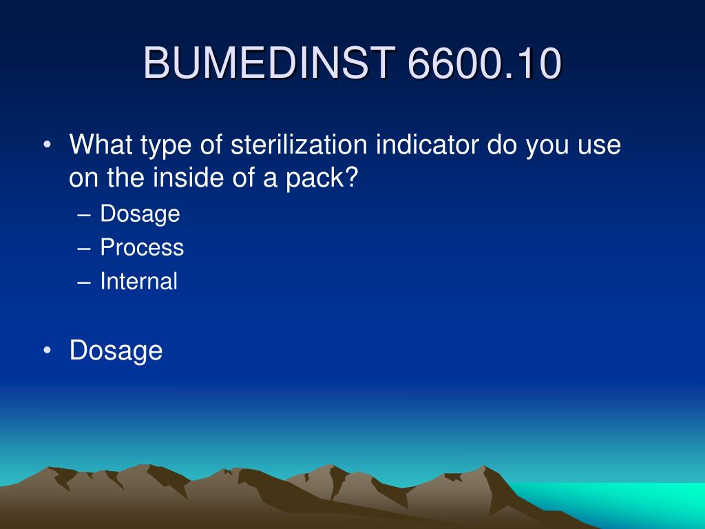 What type of sterilization indicator do you use on the inside of a pack?