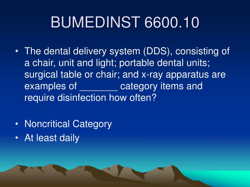 The dental delivery system (DDS), consisting of a chair, unit and light; portable dental units; surgical table or chair; and x-ray apparatus are examples of _______ category items and require disinfection how often?