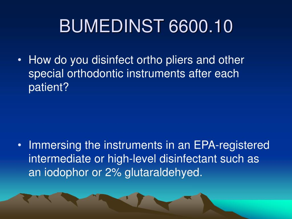 How do you disinfect ortho pliers and other special orthodontic instruments after each patient?