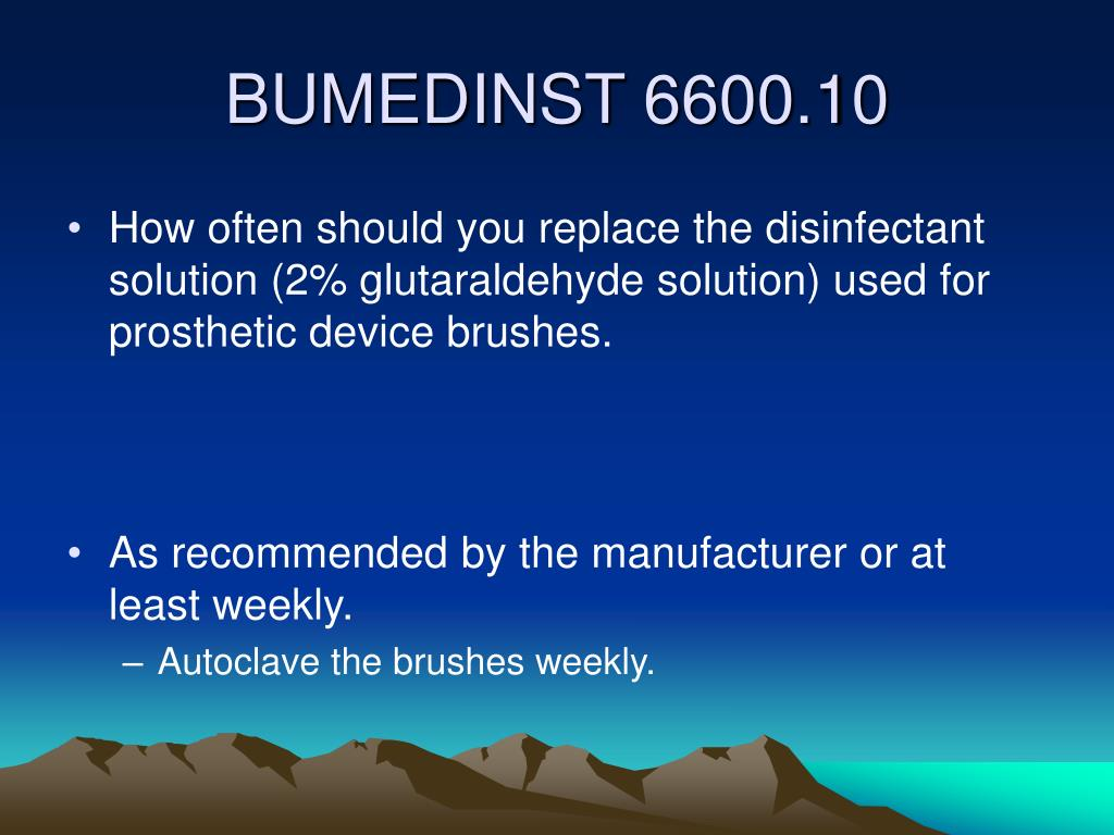 How often should you replace the disinfectant solution (2% glutaraldehyde solution) used for prosthetic device brushes.