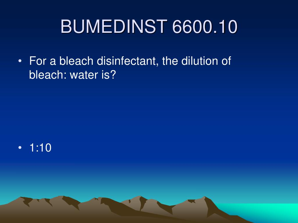 For a bleach disinfectant, the dilution of        bleach: water is?