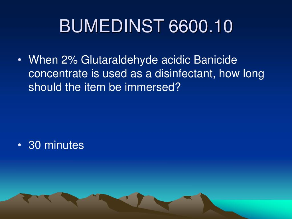 When 2% Glutaraldehyde acidic Banicide concentrate is used as a disinfectant, how long should the item be immersed?