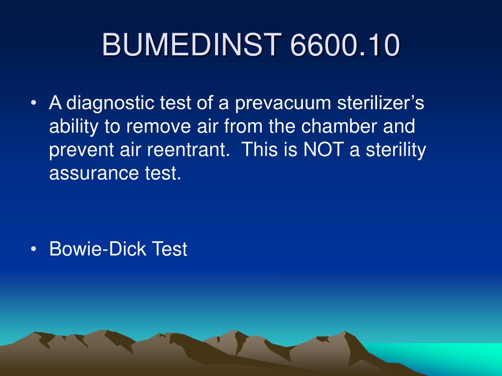 A diagnostic test of a prevacuum sterilizer's ability to remove air from the chamber and prevent air reentrant.  This is NOT a sterility assurance test.