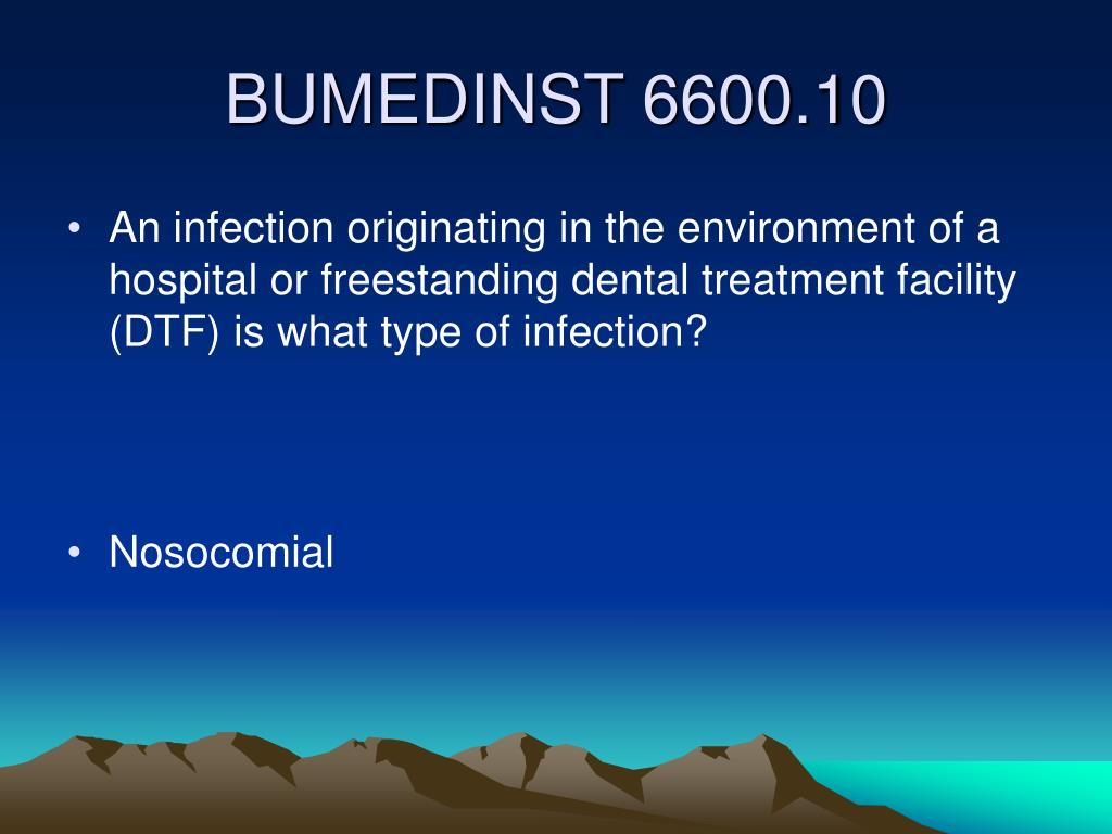 An infection originating in the environment of a hospital or freestanding dental treatment facility (DTF) is what type of infection?