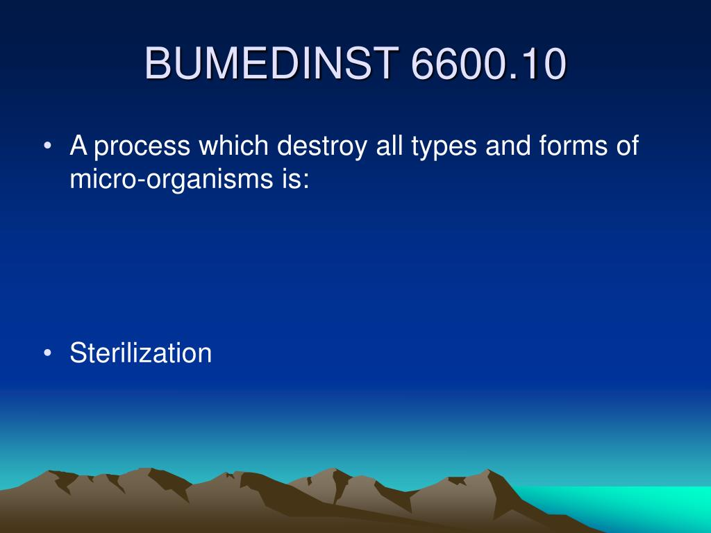 A process which destroy all types and forms of micro-organisms is: