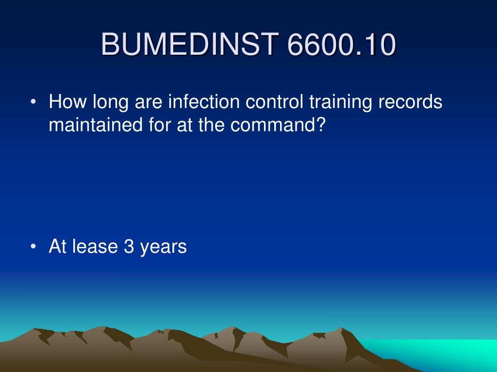 How long are infection control training records maintained for at the command?