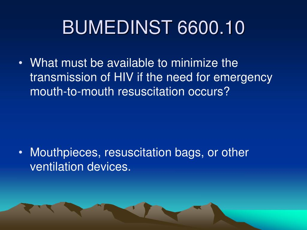 What must be available to minimize the transmission of HIV if the need for emergency mouth-to-mouth resuscitation occurs?