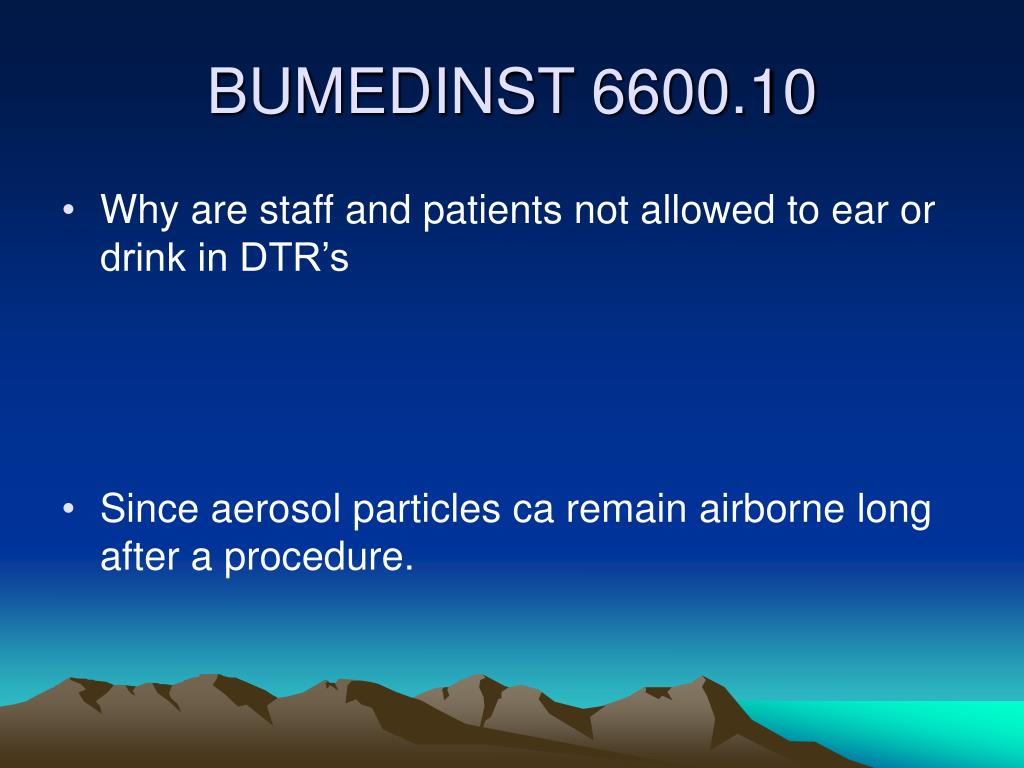Why are staff and patients not allowed to ear or drink in DTR's