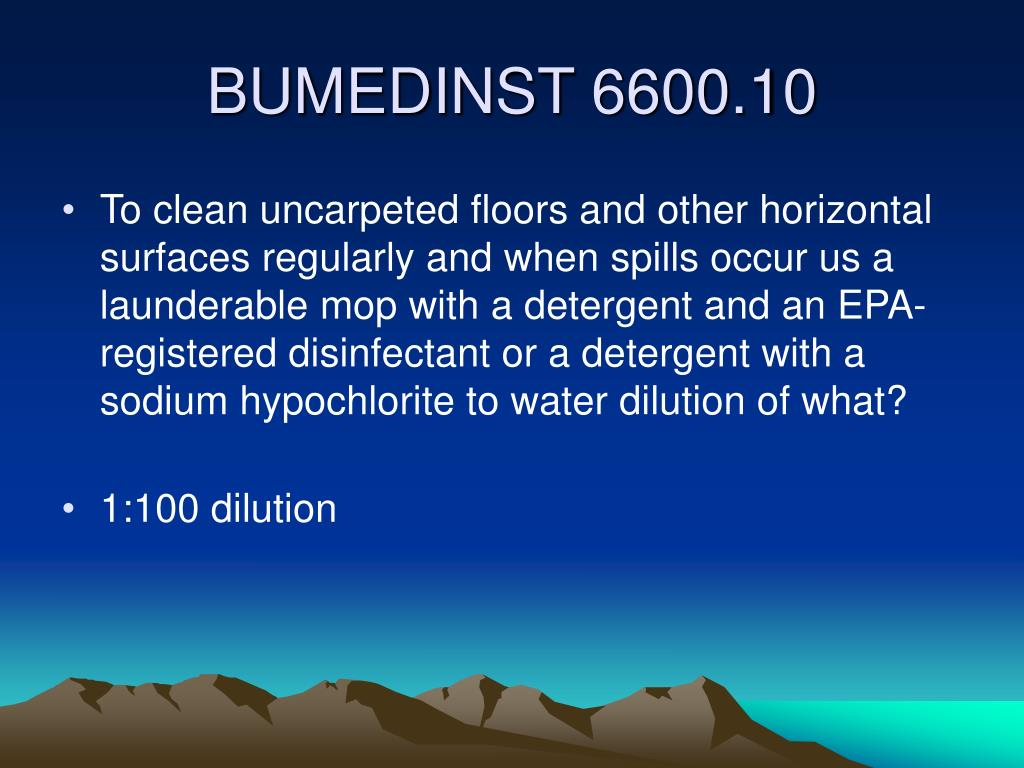 To clean uncarpeted floors and other horizontal surfaces regularly and when spills occur us a launderable mop with a detergent and an EPA-registered disinfectant or a detergent with a  sodium hypochlorite to water dilution of what?