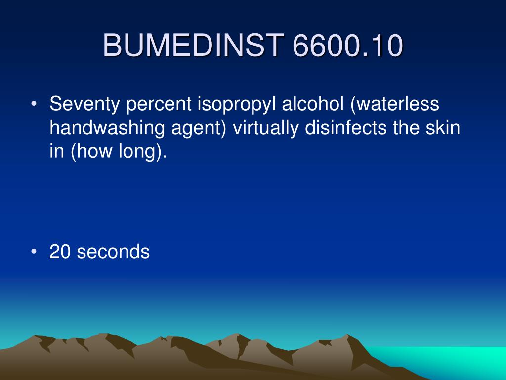 Seventy percent isopropyl alcohol (waterless handwashing agent) virtually disinfects the skin in (how long).