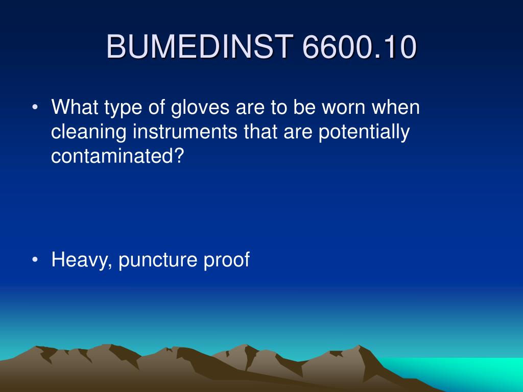 What type of gloves are to be worn when cleaning instruments that are potentially contaminated?