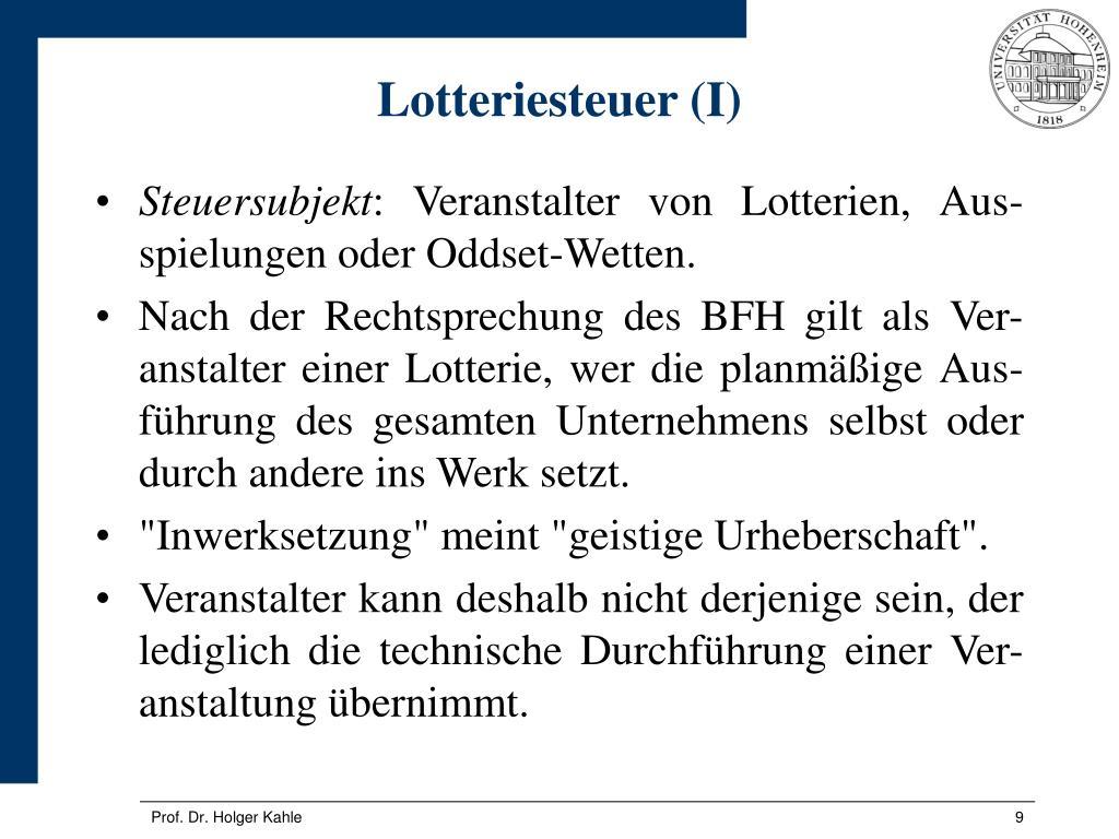 Lotteriesteuer (I)