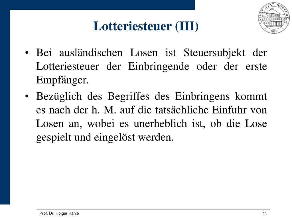 Lotteriesteuer (III)