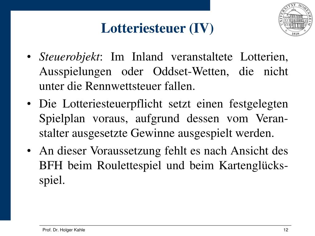 Lotteriesteuer (IV)