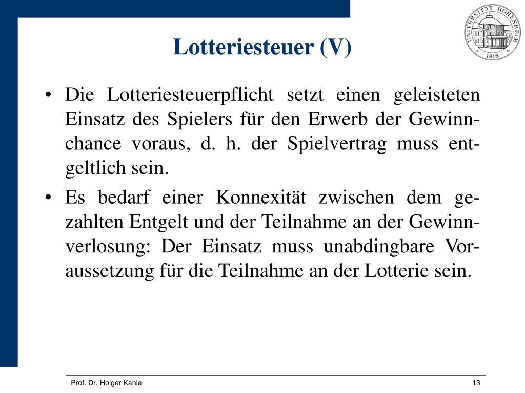 Lotteriesteuer (V)