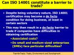 can iso 14001 constitute a barrier to trade