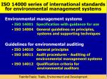 iso 14000 series of international standards for environmental management systems