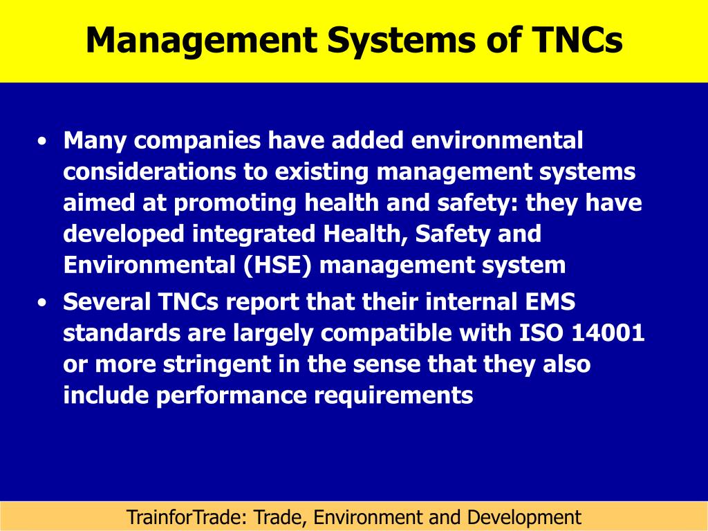 Management Systems of TNCs