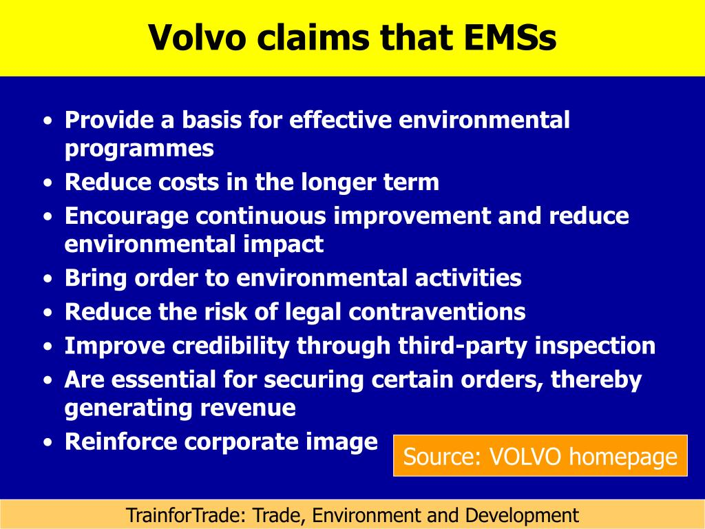 Volvo claims that EMSs