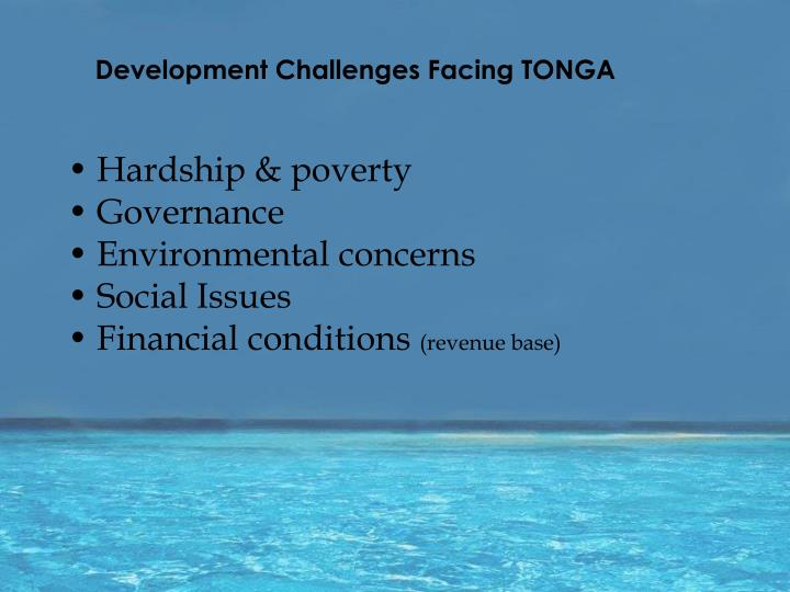 Development challenges facing tonga