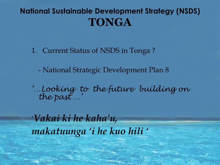 National sustainable development strategy nsds tonga