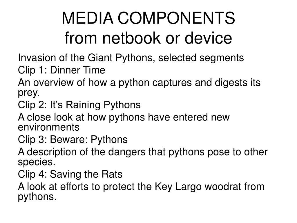 MEDIA COMPONENTS
