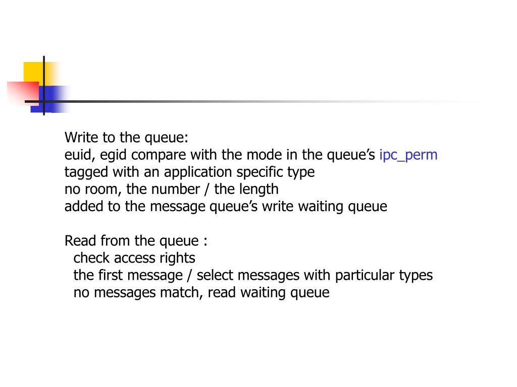 Write to the queue: